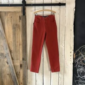 80s Bright Brick Button Jeans Get Spoiled Squeeze